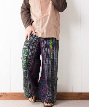 モン族刺繍&藍染バティック・タイパンツ(8)