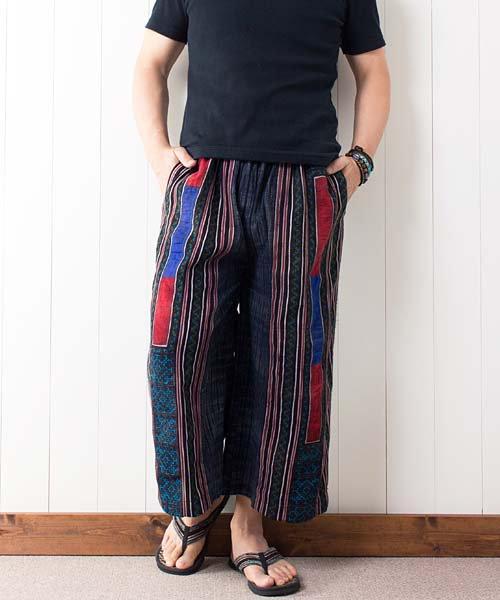 モン族刺繍&藍染バティック・ガウチョパンツ(5)