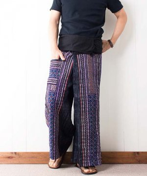 モン族刺繍&藍染バティック・タイパンツ(9)