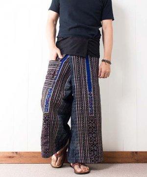 モン族刺繍&藍染バティック・タイパンツ(10)