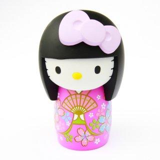 こけしKT置物 桜・着物PUリボン紫