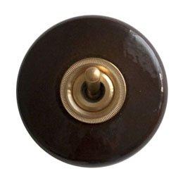 陶器丸型スイッチ/ブラウン 片切/3路