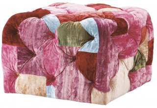 BENSINGTON SMALL SQUARE FOOTSTOOL VELVET PATCHWORK BOHEM