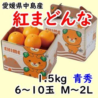 愛媛県オリジナル柑橘「紅まどんな」 青秀 6〜10玉 約1.5�(M〜2L)  ◆予約商品◆