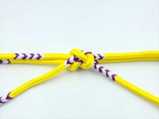 帯〆 奈良組<br>黄色地 白×紫<br>和小物さくら