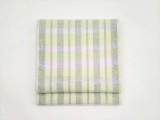 袋帯 「横段格子 グレー×黄緑」<br>池口平八作