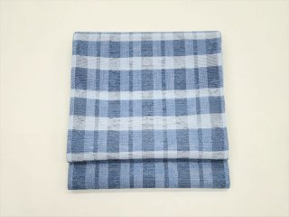 袋帯 「横段格子 ブルー×グレー」<br>池口平八作