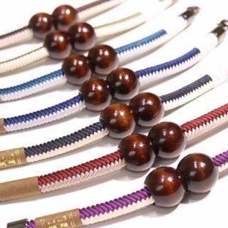 羽織紐 木玉×2色組みひも--マグネットタイプ