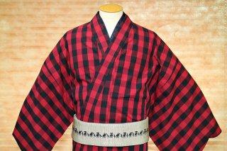 【伊勢木綿】男の着物 -赤&黒格子 Lサイズ
