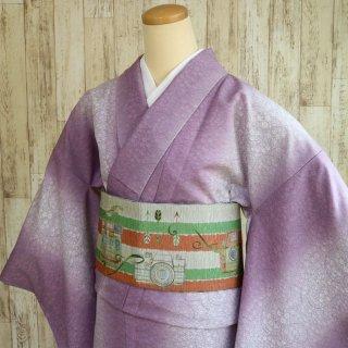レディース 洗える着物 -花唐草 小花柄/紫