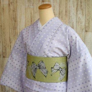 レディース 洗える着物 -ドット柄/紫