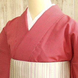 レディース 洗える着物 -チェック柄/紅色