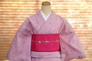 レディース 洗える着物 -小花柄/ピンク