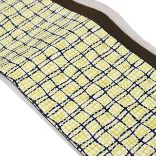 半幅帯 -チェック柄/黄色