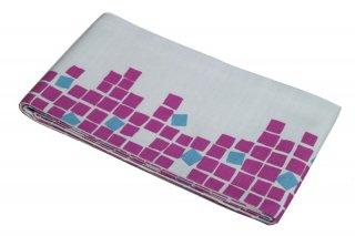 綿半幅帯 -石畳柄/ピンク