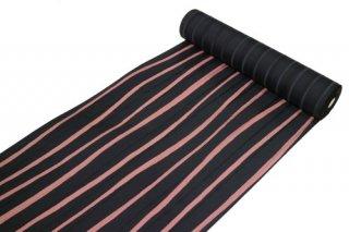 丹後縮緬 正絹反物 -よろけ縞/黒×サンゴ色