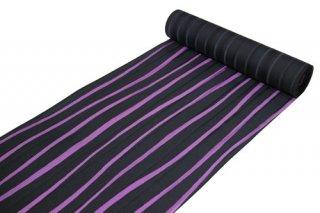 丹後縮緬 正絹反物 -よろけ縞/黒×紫