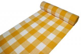 片貝木綿 反物 -ブロック格子/オレンジイエロー