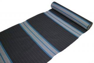シルクウール 反物 -市松模様×変わり横縞/ブラック地