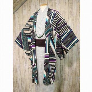 【ひでや工房】 メンズ羽織 〜変り縞・紫〜