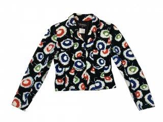 シャネル デニムジャケット 97年 ブラック×マルチカラー ショート丈 38
