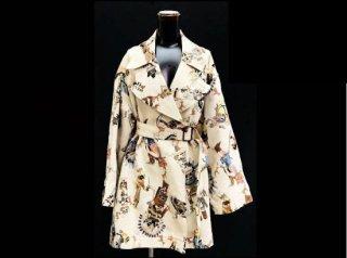 エルメス カチナ コート ヘリンボーン編み Wコート 総柄 38 オーバーサイズ