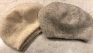 りえ子ママも愛用<br>【銀座ママセレクト】<br>カシミヤ100%帽子 白、グレー<br>耳までスッポリ!