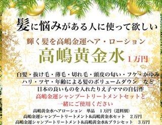 高嶋黄金水・シャンプー&トリートメント・ブラシ 1万円、2万円、3万円の3種類
