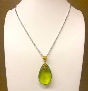 【限定20】鮮やかな緑に癒される金運と癒しのパワー高嶋グリーンアンバー琥珀ネックレス 特典付き