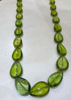 【限定】鮮やかな緑に癒される金運と癒しのパワー高嶋グリーンアンバー琥珀ネックレス 特典付き