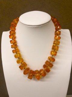 【限定20】輝くオレンジ色 金運と癒しのパワー高嶋琥珀ネックレス 特典付き