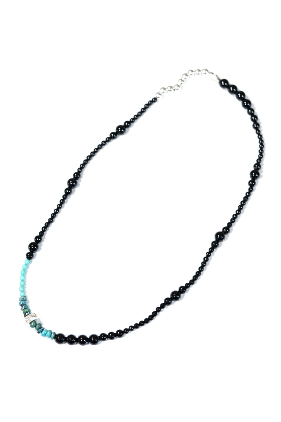 Cut Beads Stretch Necklace /Silver