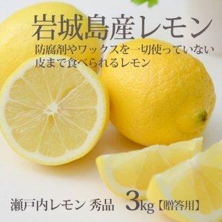 瀬戸内レモン 秀品 3kg  ハウス栽培 防腐剤ワックスなし 贈答 フルーツギフト