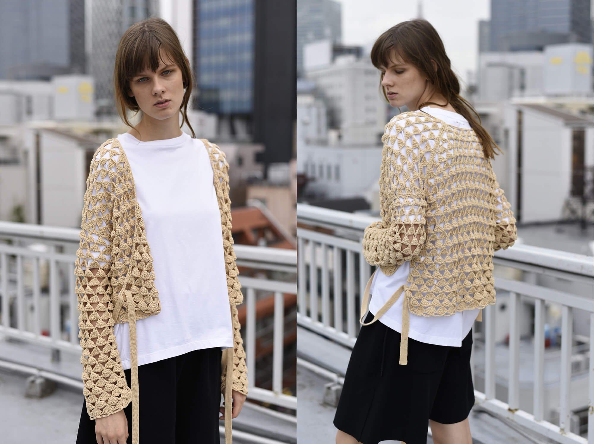 hand-crochet cotton cardigan