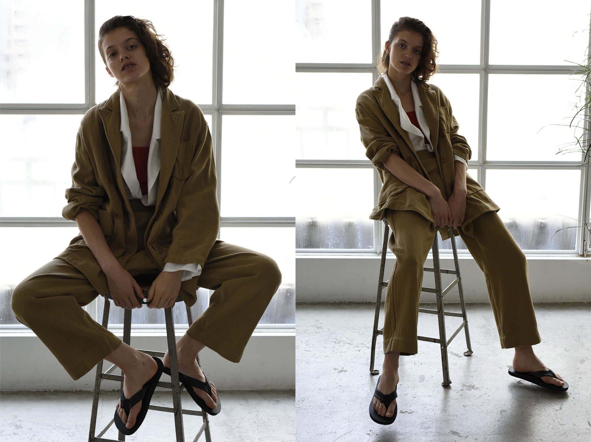cotton&linen-tweed oversized jacket