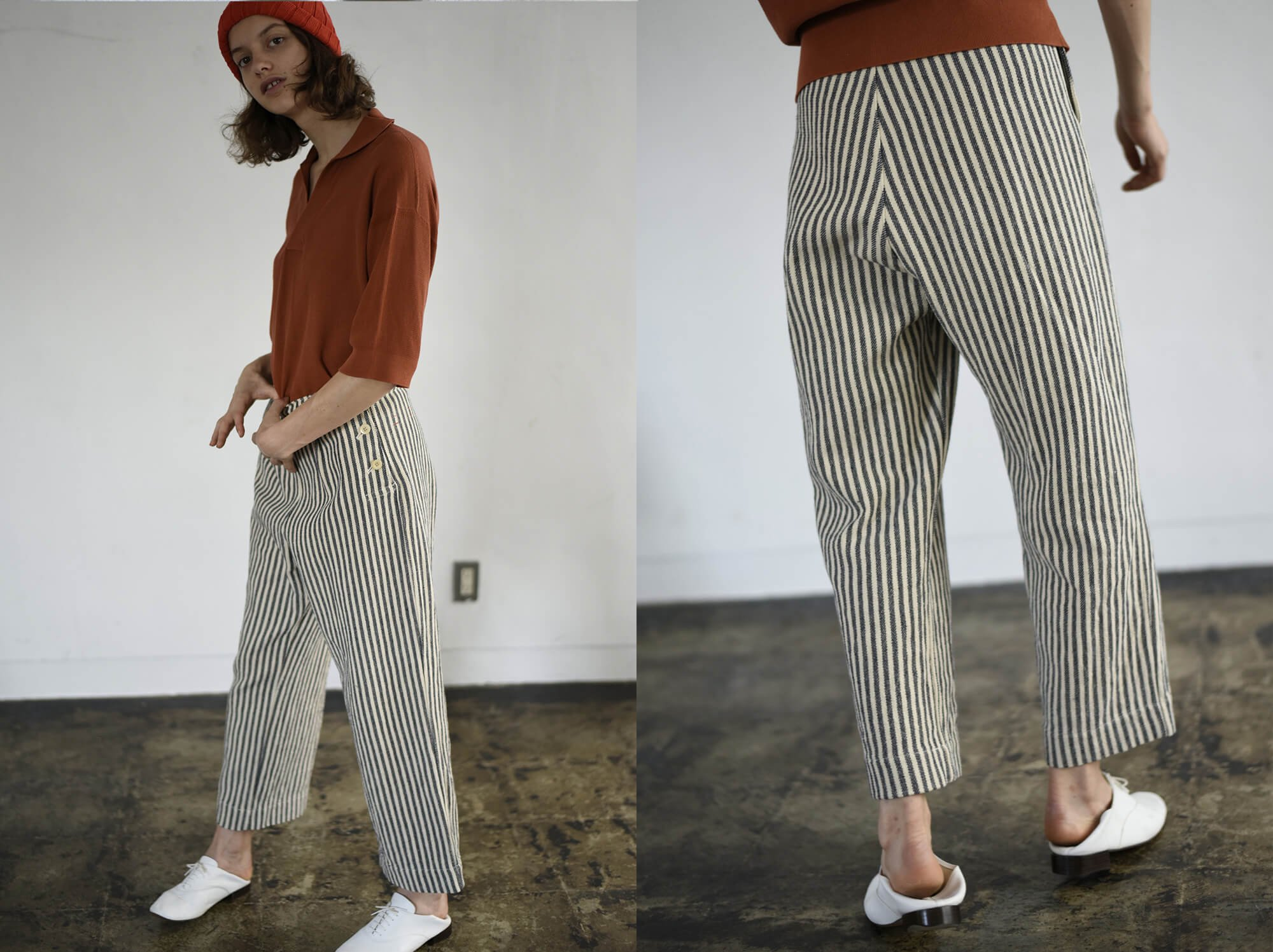 cotton&linen-tweed marine pants