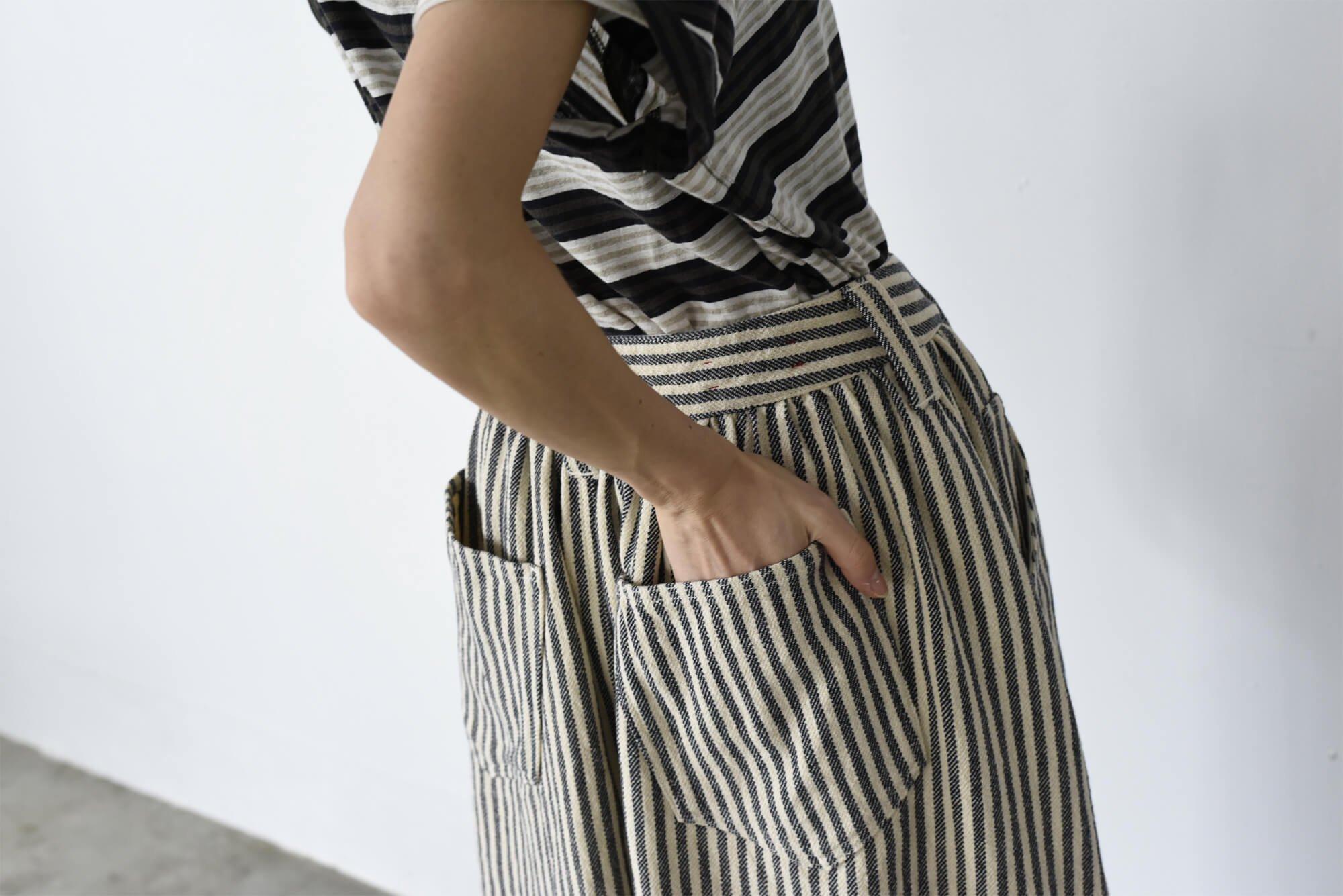 cotton&linen tweed gathered skirt