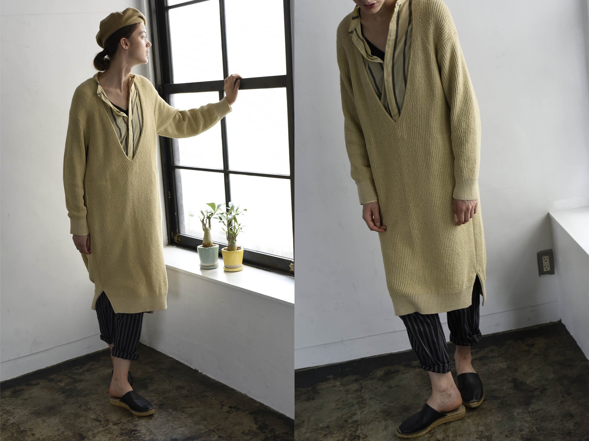 cotton bouclé ribbed-knit dress