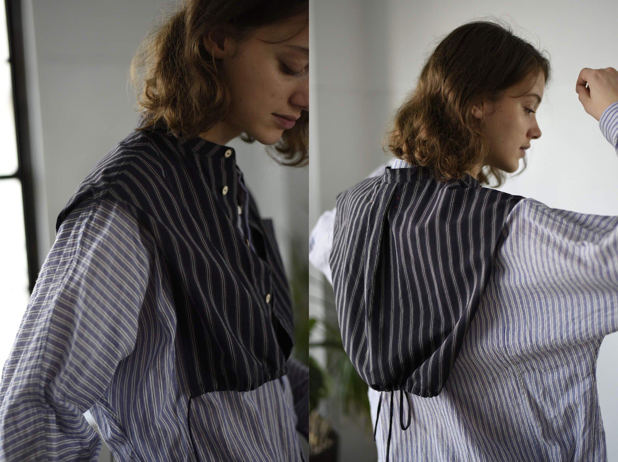 striped high twist cotton bib