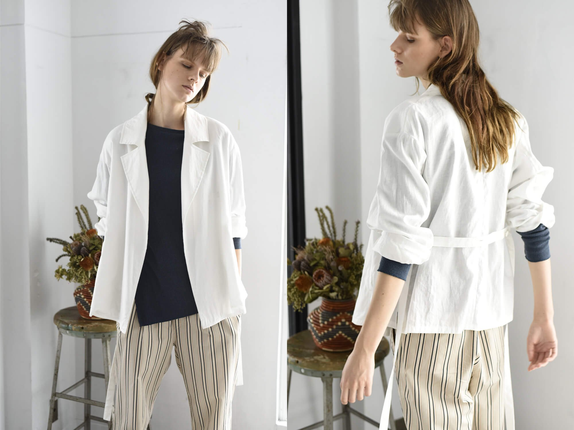 washed linen-weather wrap jacket