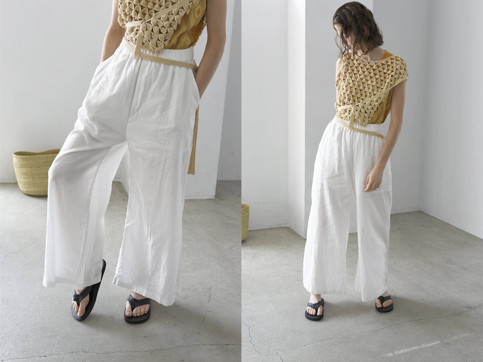 washed linen-weather wide leg trousers