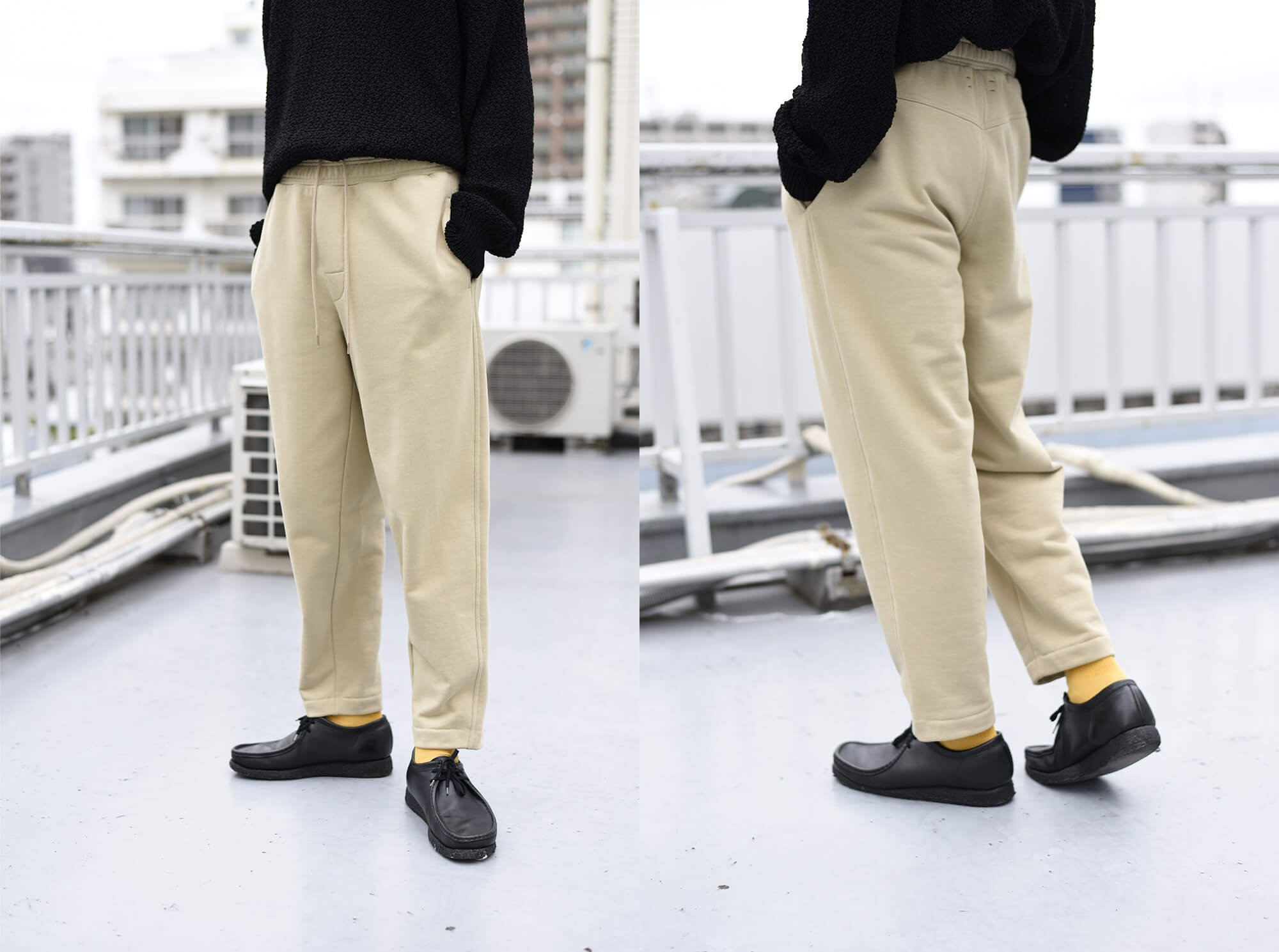 cotton-terry wide tapered sweatpant