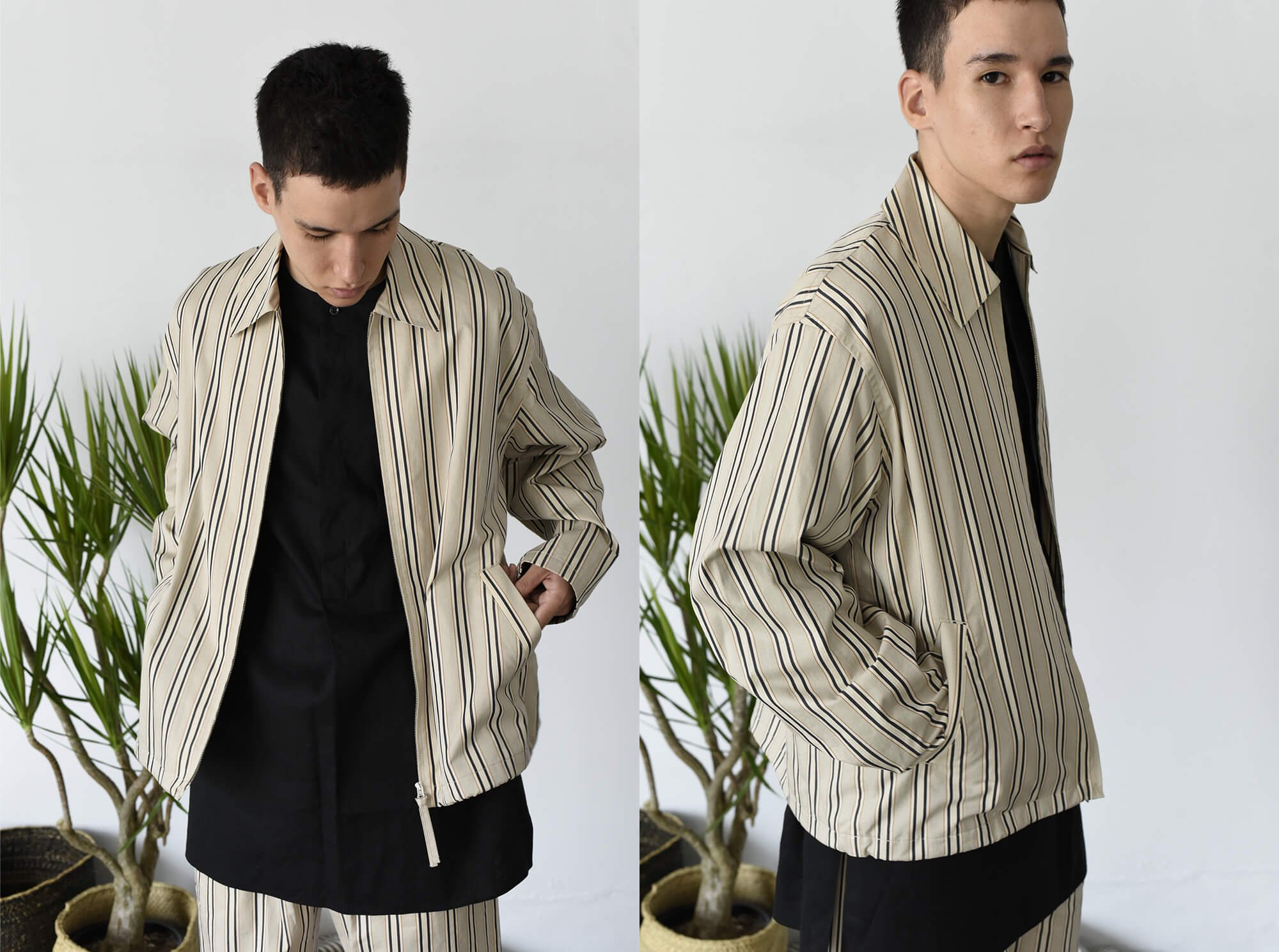 washed egyptian cotton-twill zip up blouson