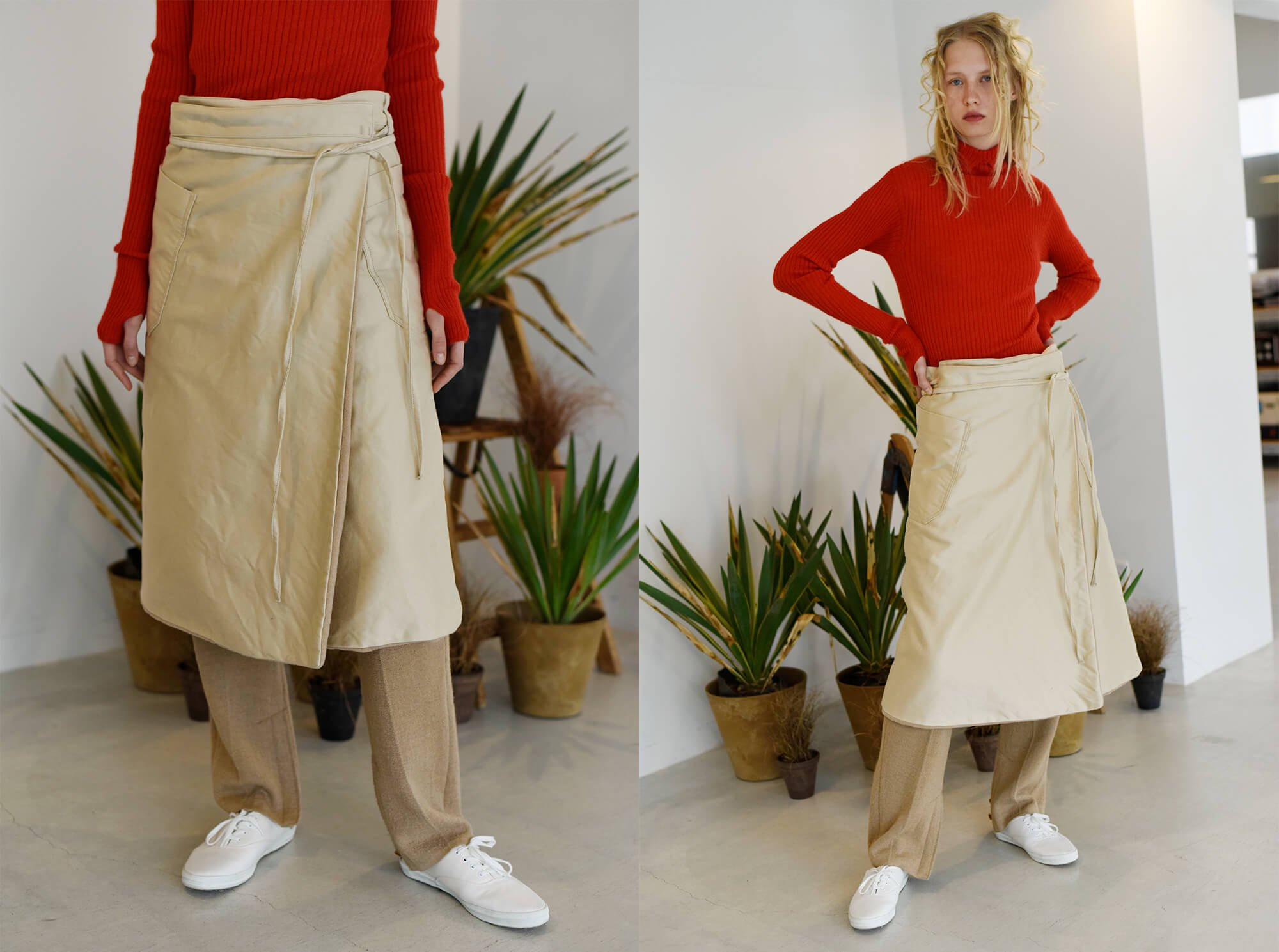 egyptian cotton-moleskin wrap skirt