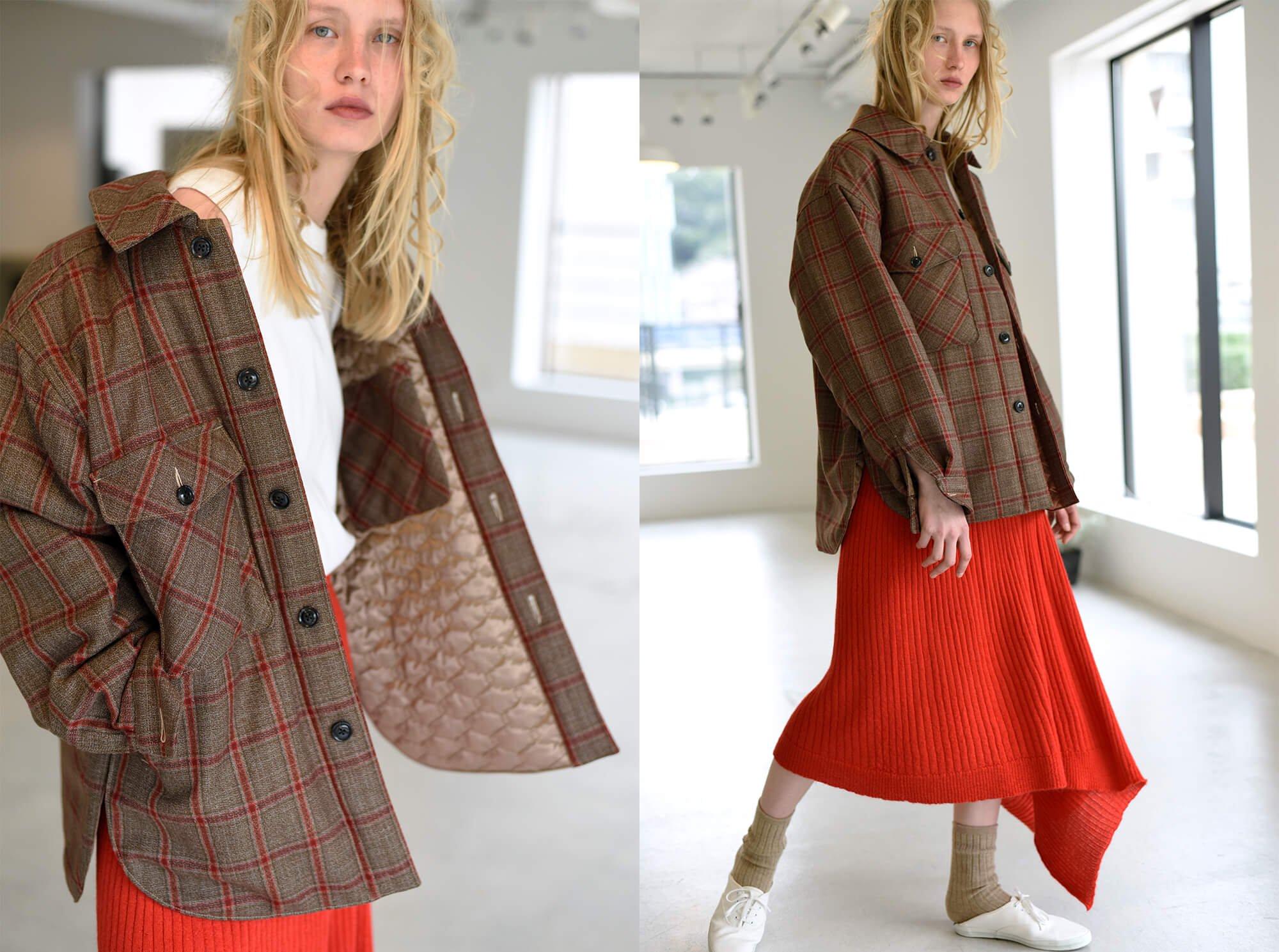 checked wool-amundsen padded  shirt jacket