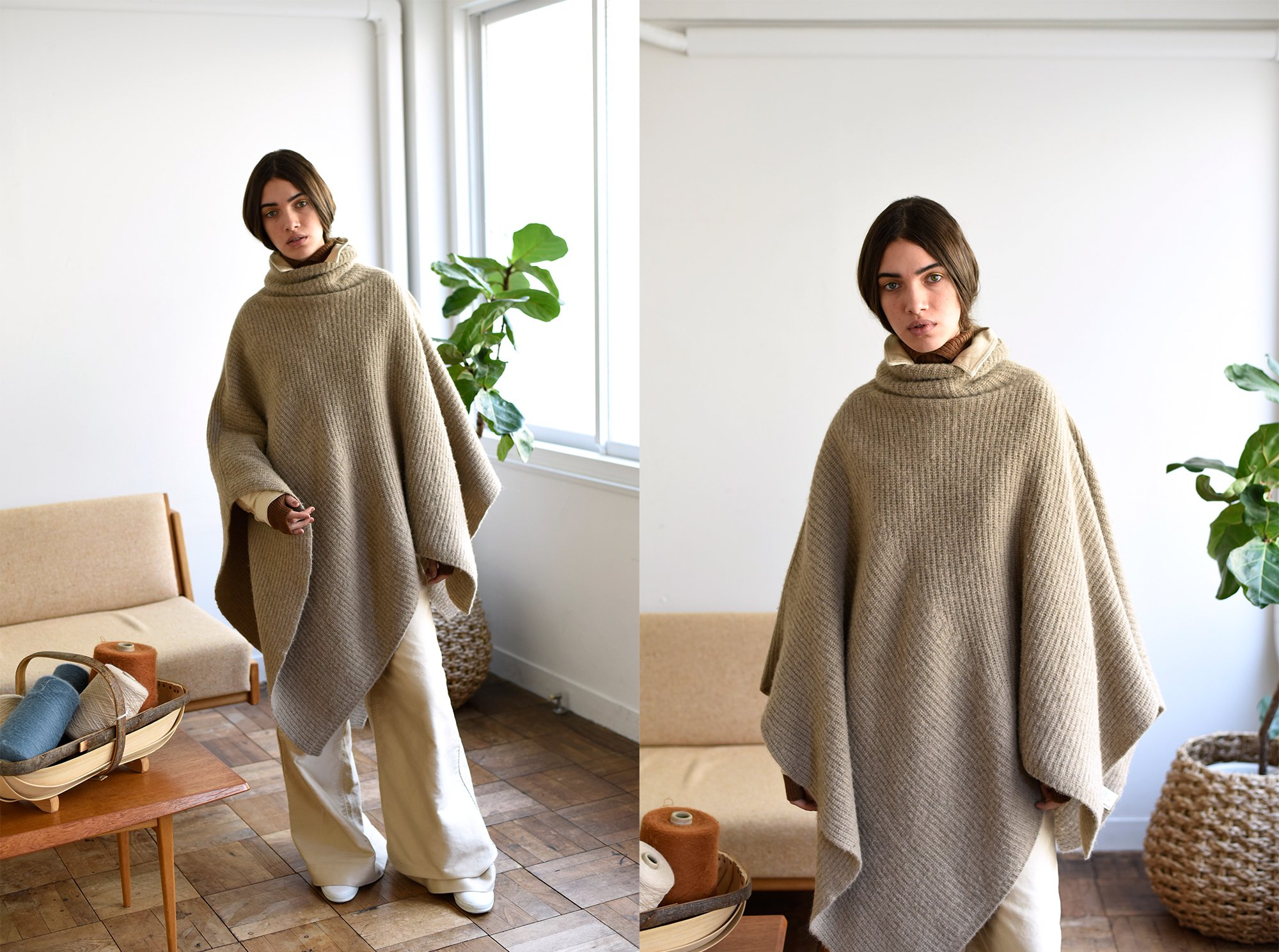 boild camel knit poncho