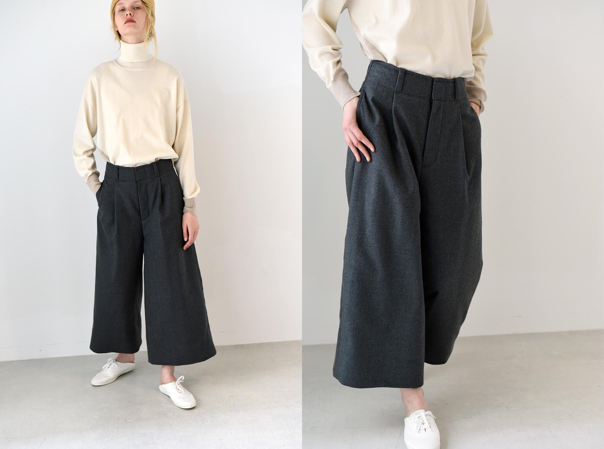 wool-flannel padded wide leg trousers
