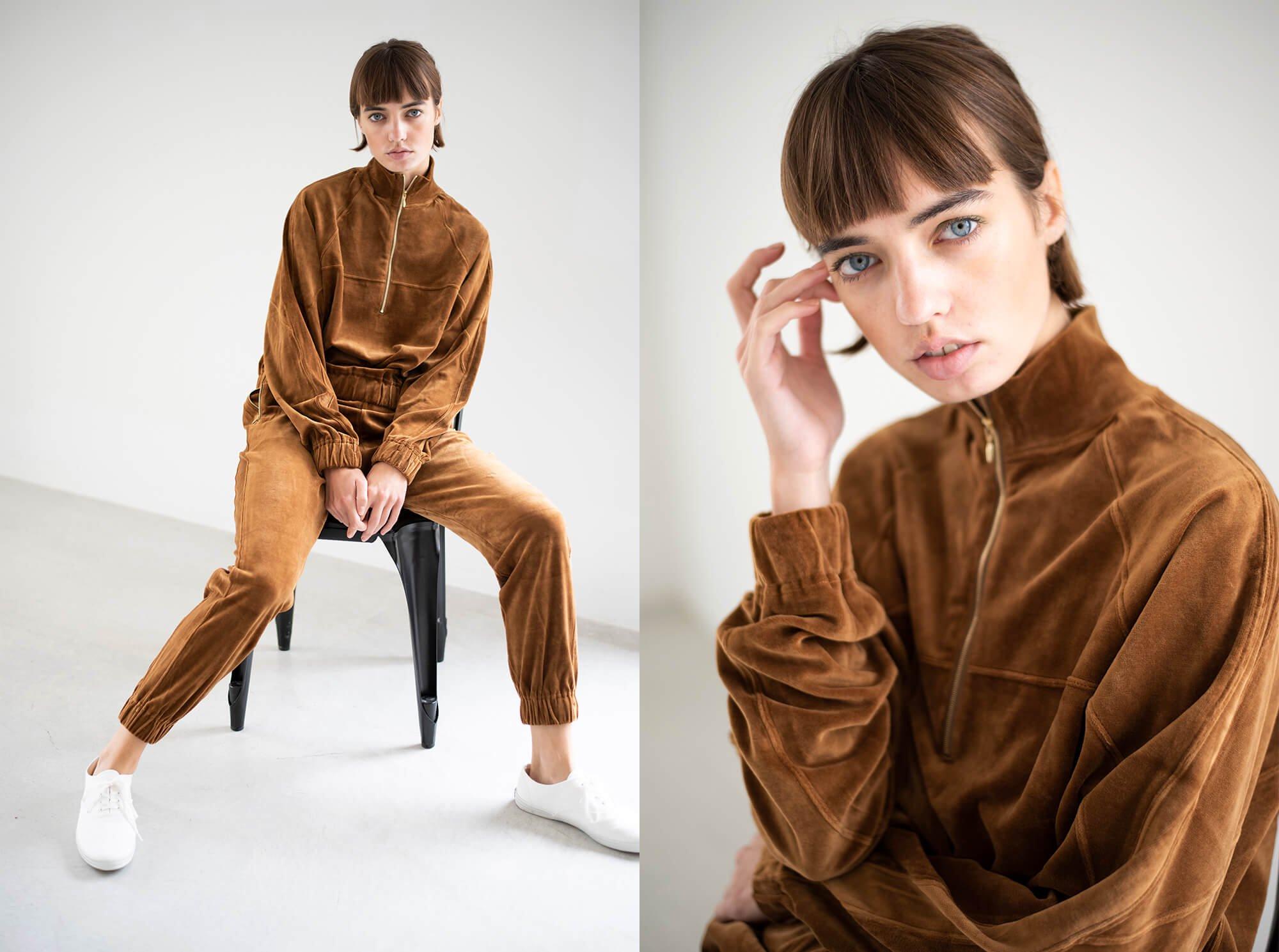 cotton velvet jersey half zip top