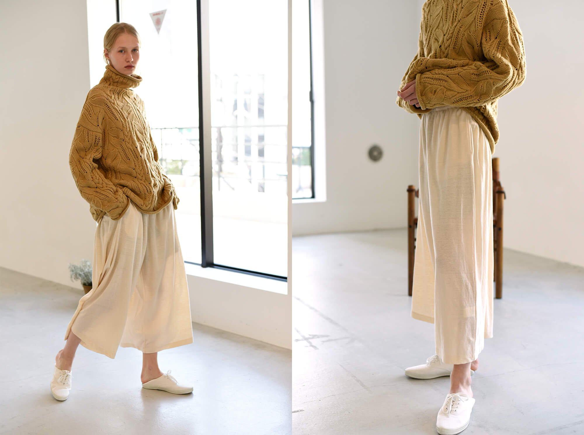 french linen cordlane-jersey wide leg pants