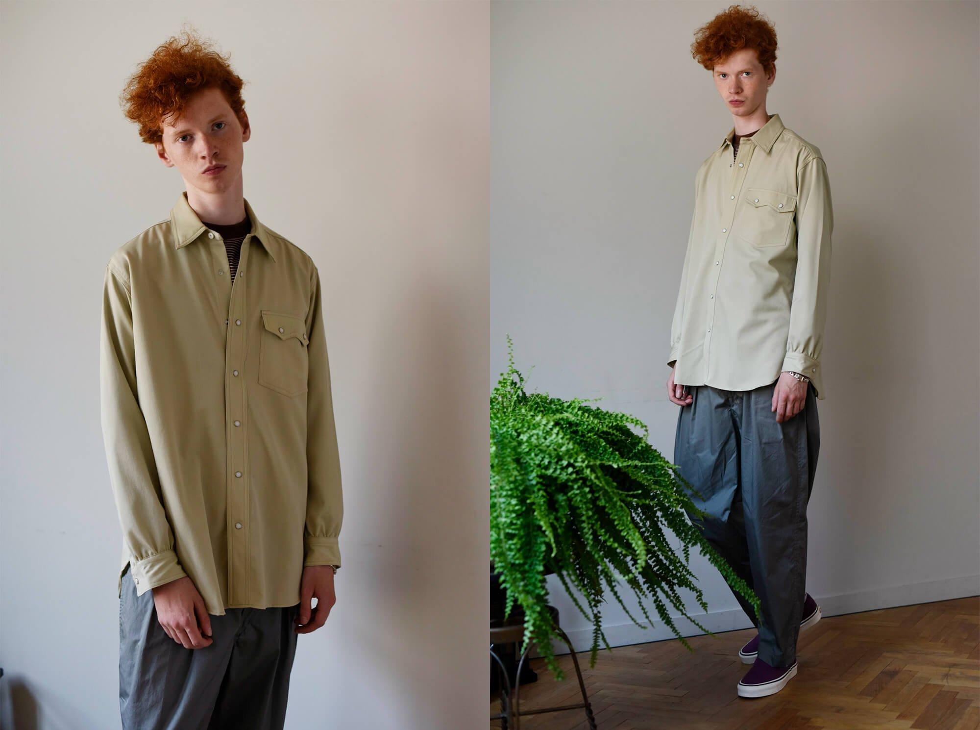 wool gabardine western shirt